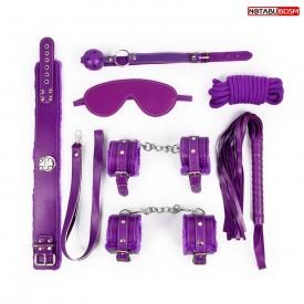 Большой набор БДСМ в фиолетовом цвете: маска, кляп, плётка, ошейник, наручники, оковы, верёвка